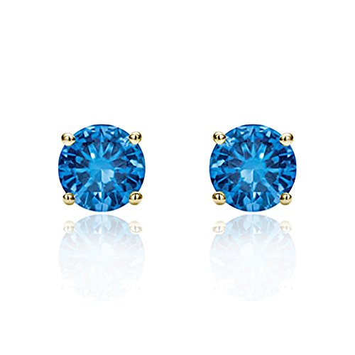 Yellow Gold 6mm Round Solitaire - 14K Yellow Gold 6mm Round Cubic Zircornia Prong Set Solitaire Screwback Stud Earrings - Light Blue