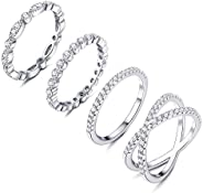Adramata 4 PCS Cubic Zirconia Band Wedding Rings Marquise Milgrain Eternity Stackable Rings X Criss Cross Ring