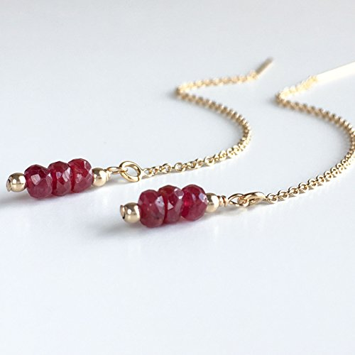 (Ruby Earrings - July Birthstone - Threader Earrings - Available Gold and Silver)