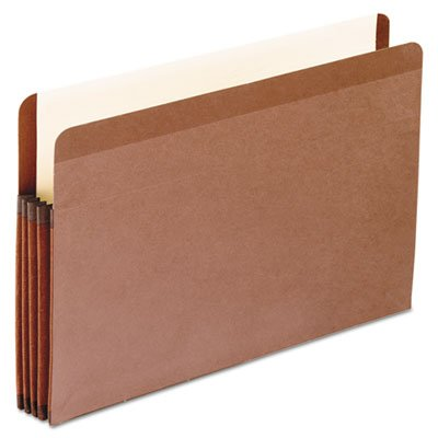 Premium Reinforced 3 1/2'' Expansion File Pocket, Red Fiber, Legal, 10/Box, Total 50 EA, Sold as 1 Carton