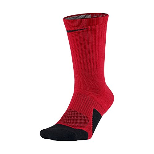 NIKE Dry Elite Unisex 1.5 Crew Basketball Socks (1 Pair), University Red/Black/Black, Large