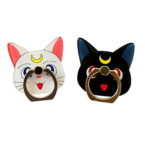 (Bowinr 2pcs Sailor Moon Phone Ring Holder, Luna & Artemis Kawaii Cell Phone Finger Ring Stand with 360°Rotation Hand Grip for Phones and Tablets)