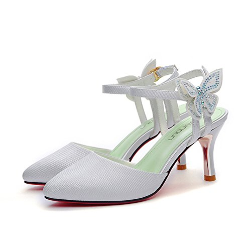 Pour Hauts Été Bride La Chaussures Boucle Simples Lacets Cheville Sandales Bout Printemps Pointu Talons Hauts Escarpins Blanc Femme À Souliers fqS1wCxC