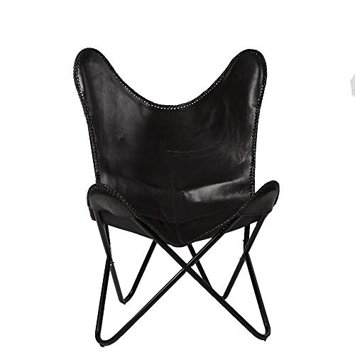 Mind Reader BUTCHAIR-BLK Butterfly, Portable Folding Lounge Chair with Metal Frame, Round Seating Area, Black