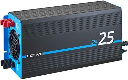 ECTIVE 2500W 12V zu 230V Reiner Sinus-Wechselrichter SSI 25 mit Batterie-Ladegerät, MPPT-Solarladeregler, NVS und BVS