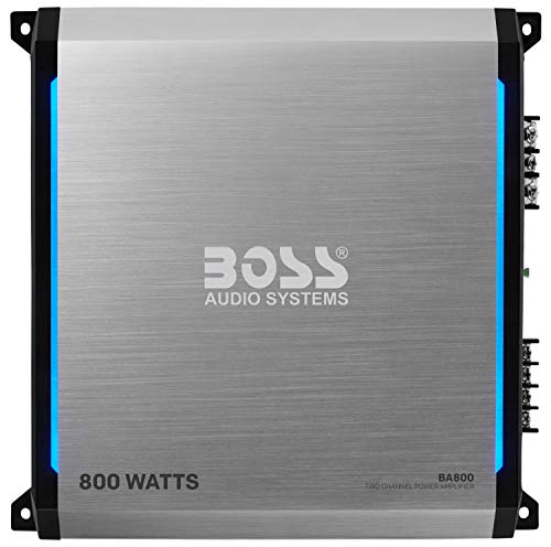Boss Audio Systems Elite BA800 2 Channel Car Amplifier - 800 Watts, Full Range, Class AB, 2-8 Ohm Stable, Mosfet Power Supply