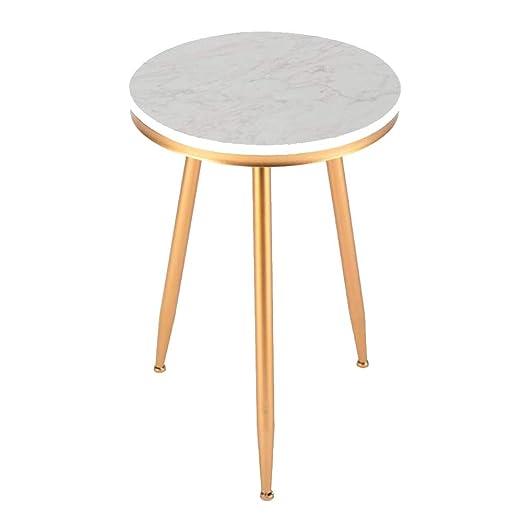 Table XIA Mesa de Comedor de mármol Redonda Blanca de la Mesa de Centro con el Oro Negro 40 * 59cm del té de Las piernas del Metal 40 (Color : Oro): Amazon.es: Hogar