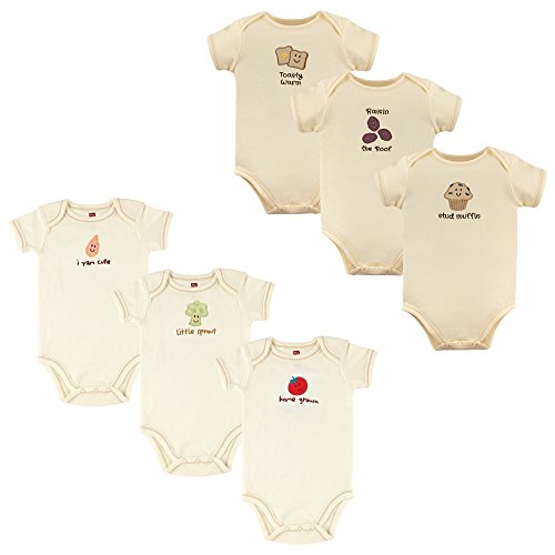 (Touched by Nature Baby Organic Cotton Bodysuits, Tomato and Muffin 6 Pack, 6-9 Months)