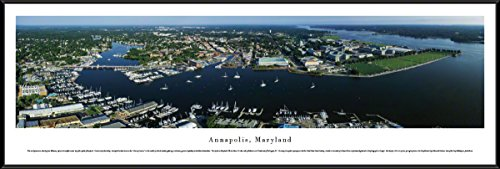 Blakeway Worldwide Panoramas Annapolis, Maryland - Aerial View - Blakeway Panoramas Skyline Posters with Standard Frame,