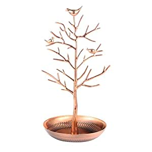 Tinksky Jewelry Tree Display Stand Holder Organizer Tower for Earring Necklace Ring (Rose Gold)
