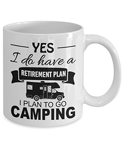 RETIREMENT CAMPING MUG ~ Funny Retired Gone Camping mugs - fathers day unique gift ideas - gifts for men/women/Dad/mom/Grandma/Grandpa/her/him - White Classic Retro VW Campers Coffee Tea Cup 11 Oz