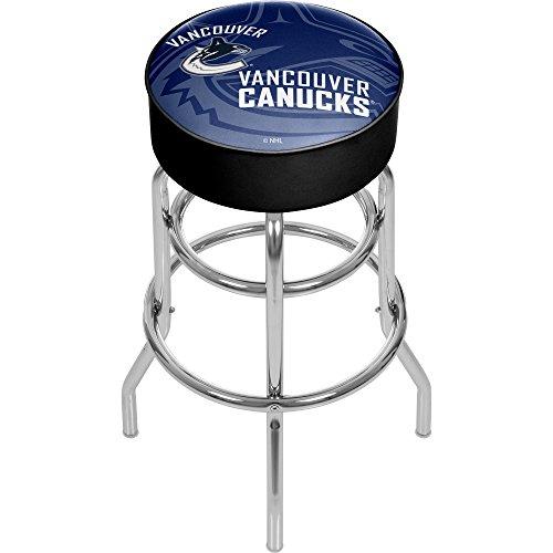 Trademark Gameroom NHL1000-VC-WM NHL Chrome bar Stool with Swivel - Watermark - Vancouver Canucksa