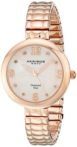Akribos XXIV Women's AK765RG Quartz Movement Watch with Pink Mother of Pearl Dial and Rose Gold Stainless Steel Bracelet