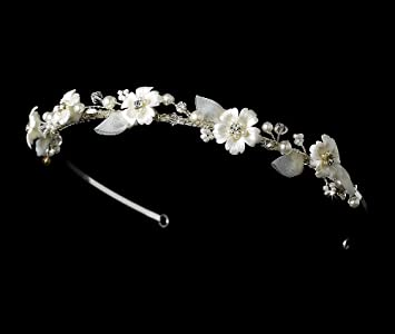 617c2f377eee Image Unavailable. Image not available for. Color  Ivory Pearl   Swarovski  Crystal Flower Bridal Headband