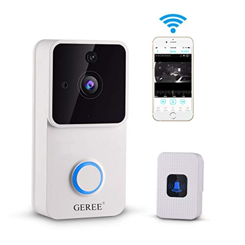 Video Doorbell, GEREE 720P HD Smart Doorbell Indoor Home Security Camera System Real-Time 2-Way Talk, Night Vision, PIR Motion Detection and App Remote Control (2 Batteries)