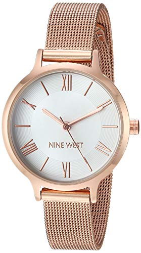 Nine West Women's NW/2228SVRG Rose Gold-Tone Mesh Bracelet Watch
