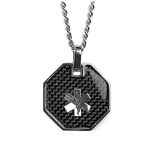 - My Identity Doctor USA - Medical Alert Womens Mens Necklace Pendant - Custom Engraving Diabetes Warfarin Dialysis Stroke Pacemakers, Carbon Finish, 316L Steel, 27in - 68.5cm Chain