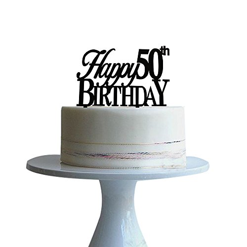 Amazon Btsond Happy 50th Birthday Cake Topper For Birtdhay Anniversary Black Acrylic Kitchen Dining