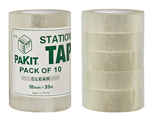 Stationary Tape for Multiple Office Applications, 18mm x 33m (36 yds.) Crystal Clear Adhesive, Great for Crafting and Scrapbooking, Adhesive non-Yellowing and Permanent, Tape Documents, School (Stationary Tape)