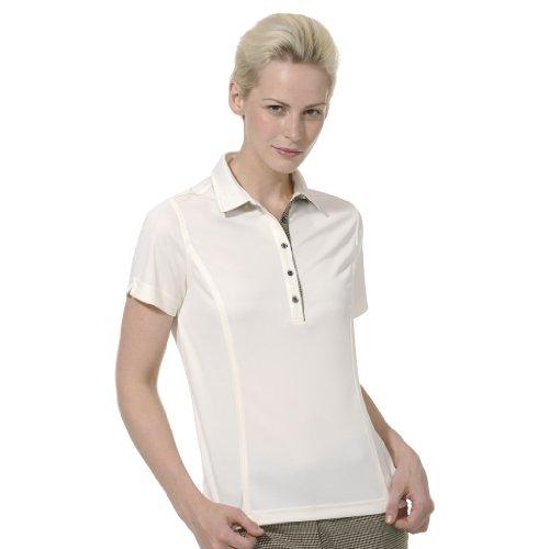 Ivory Golf Shirt - Monterey Club Ladies Dry Swing Plaid Undercollar Contrast Shirt #2280 (Ivory, Small)