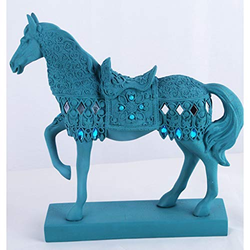 FECTY-Crafts War Horse Resin Crafts Antique Silver Home Decorations Wine Cabinet Decoration Creative Gifts Home Decoration (Color : Blue) ()