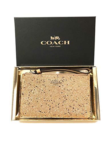 - Coach Boxed Star Glitter Corner Zip Wristlet (SV/Gold)
