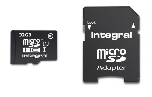 - Integral 32GB UltimaPro microSDHC CL10 UHS-I memory card w/SD adapter
