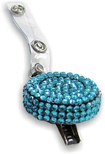 Blue Rhinestone Retractable Badge Holder