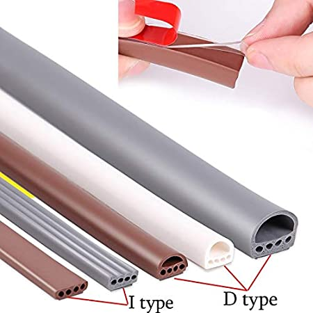 Best Door Sealing 6M//lot I-D Type Silicone Rubber Sealing Strip for Door//Window Sound Insulating Strip Self-Adhesive Tape Window Insulation Seal Silicone Sealing Tape