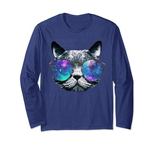 Unisex Cat Space Glasses Long Sleeve T Shirt Astronaut Cat Shirt 2XL - Glasses Space Cat