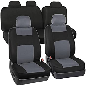 Amazon Com Full Set Black Amp Gray Seat Covers For Car Auto