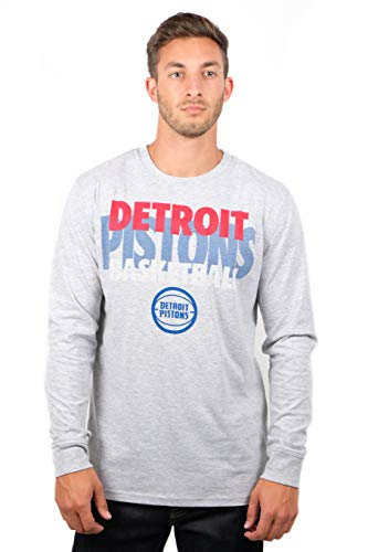 - NBA Detroit Pistons Men's T-Shirt Supreme Long Sleeve Pullover Tee Shirt, Small, Gray