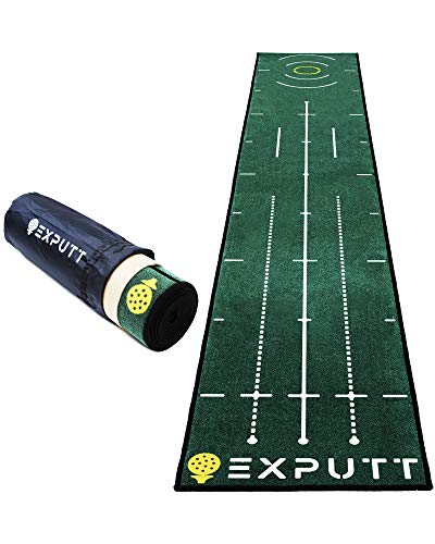 EXPUTT Indoor Putting Green, Golf Putting Practice Mat with Carry Bag Approx 10ft x 1.65ft