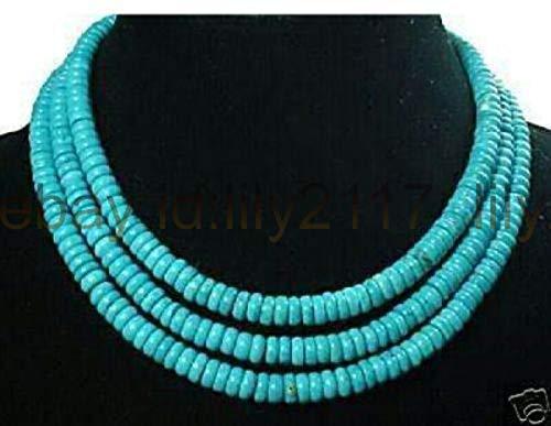 FidgetKute Beautiful Fashion 5X8MM 3 Rows Abacus Turquoise Bead Necklace 17