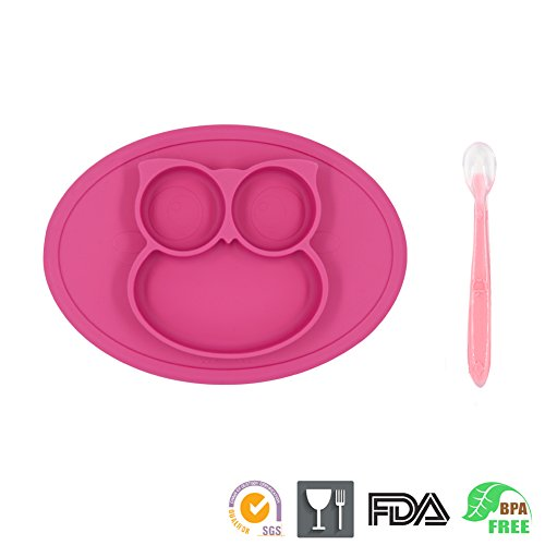 One-Piece Silicone Mini Placemat Plate-Highchair Feeding Tray Suction Placement with a ziplock Bag for Children, Kids, Toddlers,Kitchen Dining Table Out Door Travel with Free Spoon (Pink Owl) -