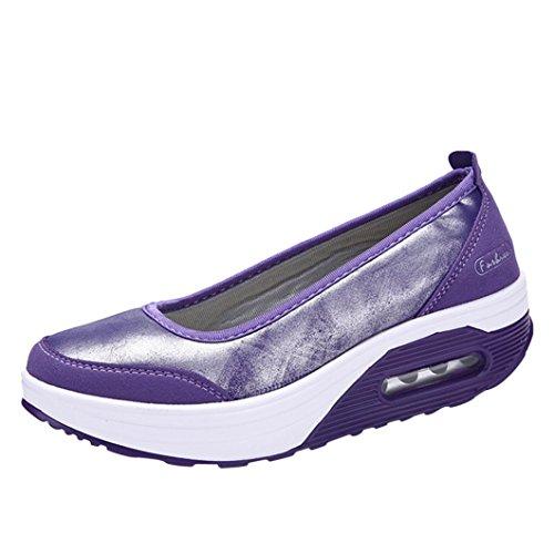 Tempo Scarpa d'Aria SOMESUN Le Aumentare Agitare Fondo Donna Libero Cushion Bocca Sport Sneakers Shoes e Shake Air Superficiale Pu Porpora Scarpe Spesso Slip Moda Platform Cuscino SSrqaBw