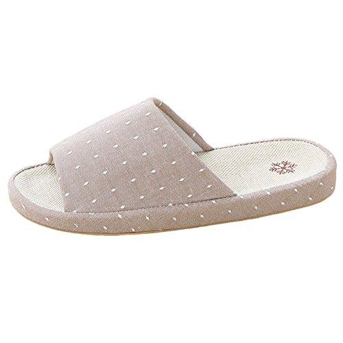 Arco Bestfur Design Traspirante Comode Pantofole Interne In Lino Belle Per Le Donne Marroni