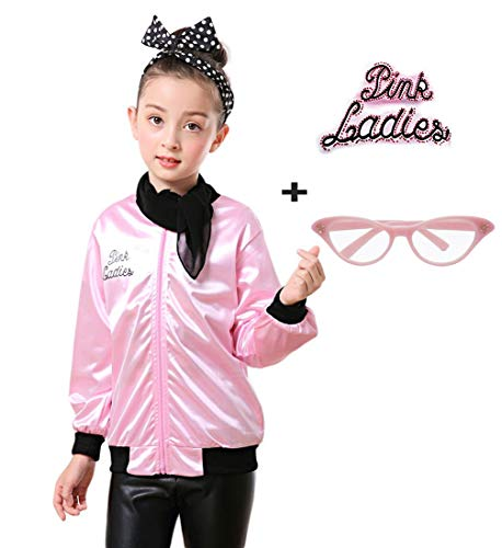 zhongyichen Child Pink Ladies Jacket with Polka Dot Headband (L, Rhinestone Pink)