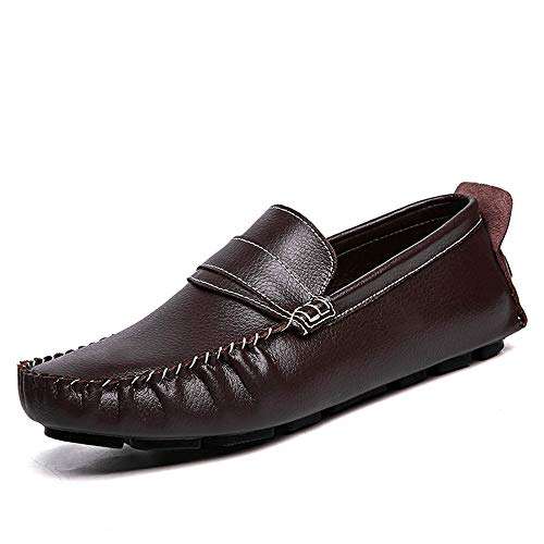 EU piatto pelle Slip casual Color uomo da Mocassini in Ofgcfbvxd Nero Dimensione 42 confortevoli barca On vera Scarpe Marrone Mocassini in g1nW8H