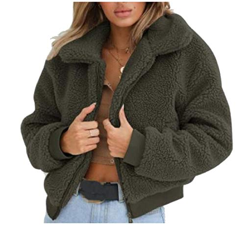 XINHEO Women's Zipper Fold-Collar Long-Sleeve Pure Color Spring Jacket Green