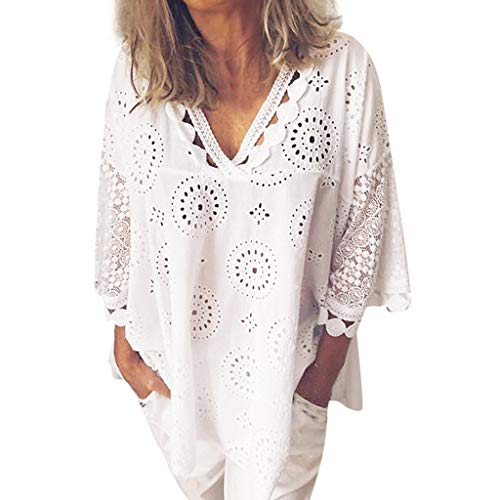 (Aniywn Women Beach Lace V Neck Hollow Out Patchwork Plus Size T-Shirt Loose Half Sleeve Ladies Tops Tunic Blouse)