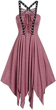 Dainzuy Women Gothic Vintage Dress Cool Punk Wind Bow Bandage Irregular Hem Sleeveless Camisole Mini Dress