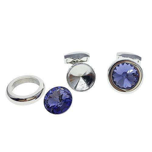 Cuff-Arts Cufflinks for Men Swarovski Crystal Cufflinks with A Gift Box C10234 Purple Crystal Cufflinks