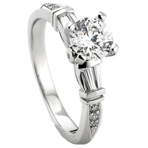6 Diamond Baguette Stone Ring - 0.33 Carat (Ctw) 14k White Gold Round & Baguette Diamond Ladies Bridal Semi Mount Ring Engagement 1/3 Ct (No Center Stone) (Size 6)