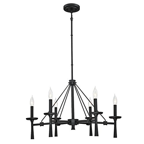 Westinghouse Lighting 6323700 Meadowbrook Six-Light Indoor Chandelier, Matte Black Finish,
