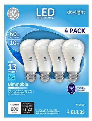 G E Lighting 67616 LED Light Bulb A19 Dimmable 10-Watt Daylight - Quantity 4 4-Pk