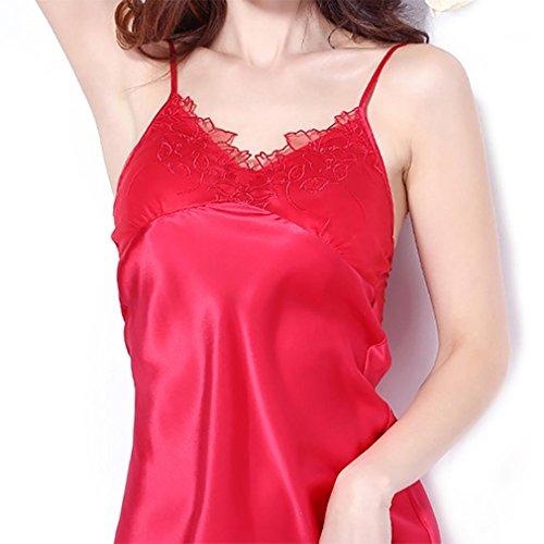 HXQ Mujeres Muñeca Satén Seda Ropa Chemise Mini Noche Vestido Red
