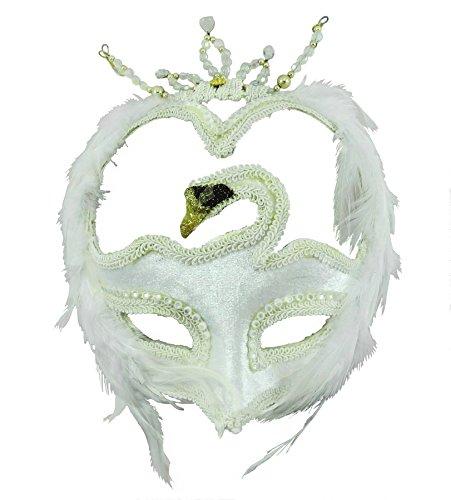 [Swan Masquerade Venetian Mask Accessory - White] (White Mardi Gras Mask)
