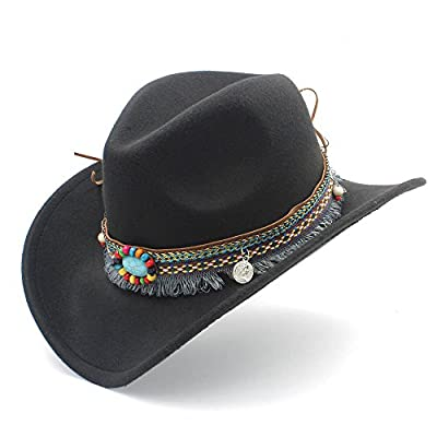MUMUWU Women's Western Cowboy Hat for Lady Tassel Felt Cowgirl Sombrero Caps