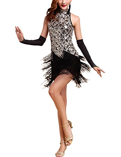 1920s 20's Paisley Art Deco Sequin Tassel Great Gatsby Flapper Dress, Black/Gold, -